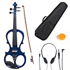 Cecilio 1/2 CEVN-1BL Solid Wood Electric/Silent Violin with Ebony Fittings in Style 1 - Blue Metallic