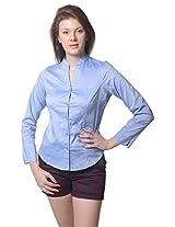 Meira Full Sleeve Chinese Collar Lilac Samray Shirt for Women (Large)