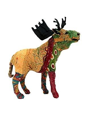 Vintage Sari Fabric Paper Mache Moose, Multi