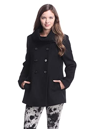 Elie Tahari Women's Cecilia Coat with Textured Collar (Black)