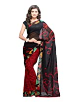 Fabdeal Women Indian Wear Printed Saree Black & Red