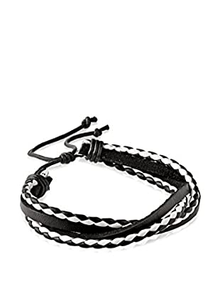 Stephen Oliver Men's Black & White Multi Leather Bracelet