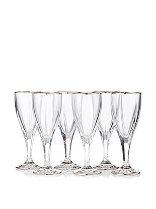A Casa K Victoria Set of 6 Crystal & Platinum 6-Oz. Wine Goblets