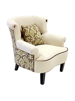 Armen Living Deerfield Chair In Ikat Fabric, Green/Cream
