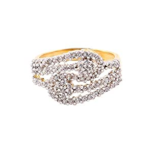 Habors Copper, Silver & American Diamond Studded Ring For Women -Gold, Silver & Copper ByHabors