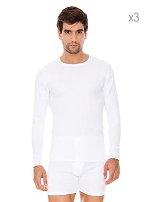ABANDERADO Pack x 3 Camisetas Manga Larga Algodón Thermal (Blanco)
