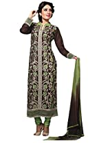 Suchi Fashion Dark Brown & Green Embroidered Cotton Semi Stitched Salwar Suit