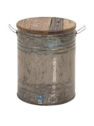 UMA Metal & Wood Drum Stool, Silver