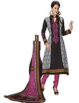 Salwar Studio Black & Pink Cotton Dress Material With Dupatta Priyanshi-5114
