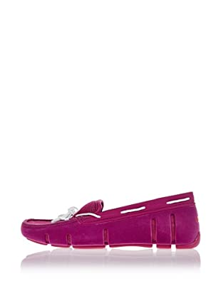 Swims Lace Loafer (peony velvet/white)