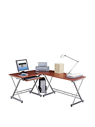 Techni Mobili L-Shape Computer Desk, Mahogany