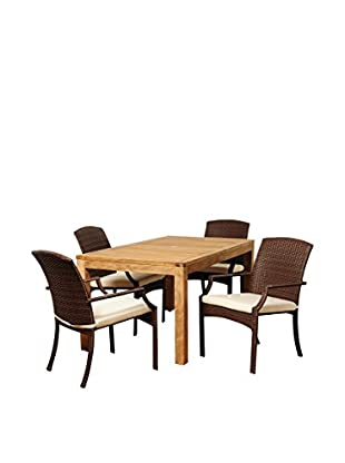 Amazonia Teak Meridian 5-Piece Wicker Rectangular Dining Set with Off-White Cushions, Brown