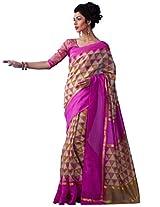 Inddus Women Beige Colored Bhagalpuri Printed Sari