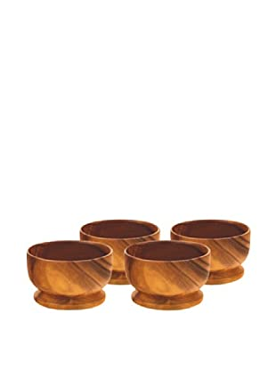 Acaciaware Set of 4 Round Bowls with Base