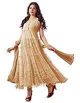 Net Semi Stitched Anarkali Salwar Kameez In Cream Colour