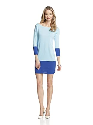 Magaschoni Women's Colorblock Tunic (Ocean/Deep Blue/White)