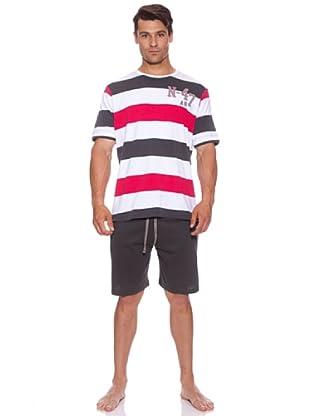 Abanderado Pijama N-47 (Blanco/Gris/Rojo)