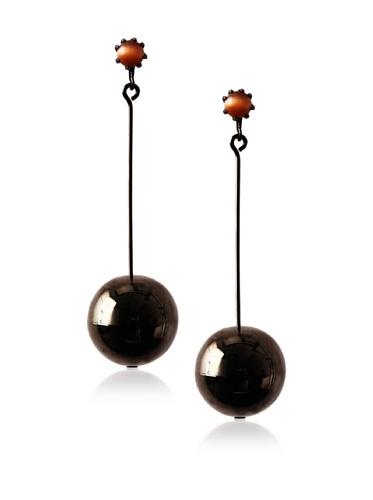 Tuleste Market Pendulum Earrings, Gunmetal/Tiger Eye