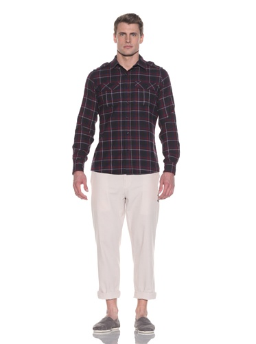 CPT by Cockpit Men's Plaid Flap-Pocket Button-Up (Red/Navy)