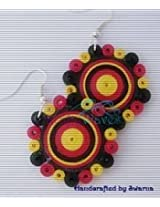 Krafty Waves Paper quilled Earrings - Pink, Yellow & Black