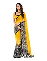 Brijraj Black White Yellow Poly Georgette Beautiful Printed Saree With Unstitch Blouse