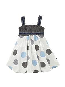 Monnalisa Girl's Embroidered Dot Bubble Dress (Grey)