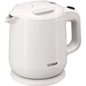 飲みたいときにサッと沸く! TIGER 電気ケトル 0.8L(フッ素加工内容器)ホワイト PCE-A080-WA