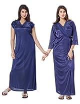 KuuKee Women's Satin Navy Colored Nightwear (10038_Navy_L)