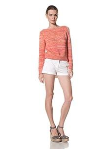 525 America Women's Tweed Crop Sweater (Heirloom Tomato Combo)