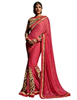 Inddus Women Coral Colored Georgette Embellished Saree