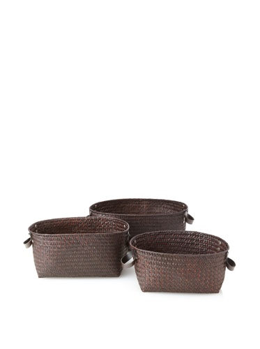 Wald Imports Set of 3 Seagrass-Reed Baskets with Faux Leather Handles (Espresso)