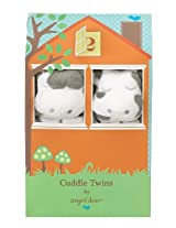Angel Dear Cuddle Twin Set, White Cow with Grey Spots