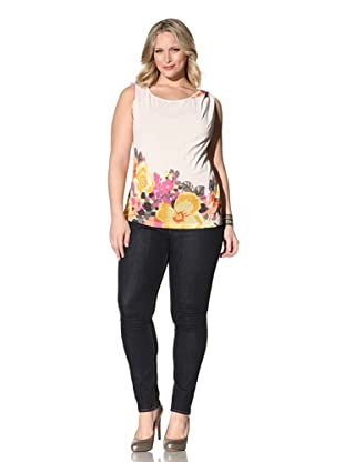 Z from Zenobia Women's Plus Mesh Jersey Top (Ivory/Floral)