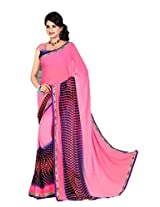 Thakar Women's Silk Georgette Saree with Blouse Piece(D.NO.6203A_Pink_Free Size)