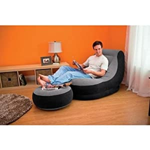 Original Intex Ultralounge 2 in 1 Chair Air Sofa with Ottoman Style Foot Stool Leg Rest Lounge Inflatable + Free G18© Electric Air Pump with Nozzles