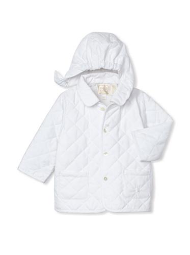 Emile et Rose Baby Girl's Microfiber Wadded Jacket with Detachable Hood (White)