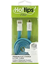 hottips premium flat cable & sync cable micro usb - blue