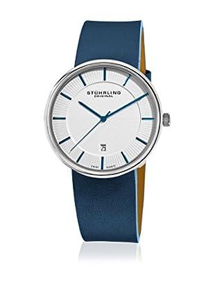 Stührling Original Uhr mit schweizer Quarzuhrwerk Man Fairmount 244.3315C2 White Dial Blau Leder