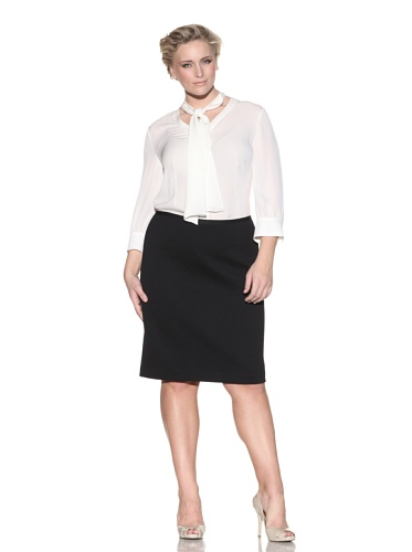 Z from Zenobia Women's Plus Textured Pencil Skirt (Black)