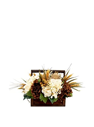 Creative Displays Brown & Cream Hydrangea with Wheat & Banksia in Wooden Basket