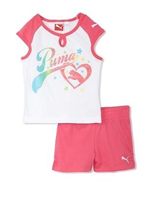 PUMA Girl's 2-6x Jersey Raglan Tee & Short Set (neon pink)