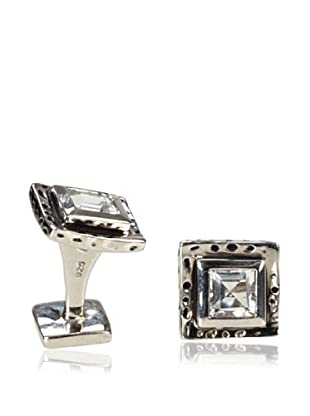 Rotenier Clear Topaz Hammered Square Cufflinks, Antiqued Silver