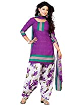 Ritiriwaz purple Cotton Patiyala Dress Material with dupatta CC1201B