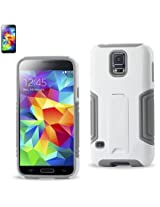 Reiko Hybrid Case with Kickstand for Samsung Galaxy S5 - Retail Packaging - Gray/White