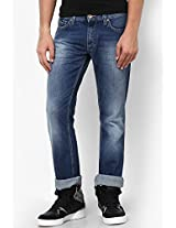 Blue Low Rise Slim Fit Jeans Gas