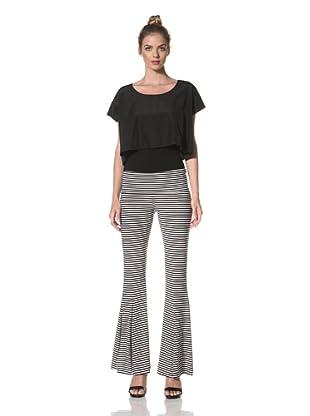 Norma Kamali Women's Fishtail Pant (Black/White Stripe)