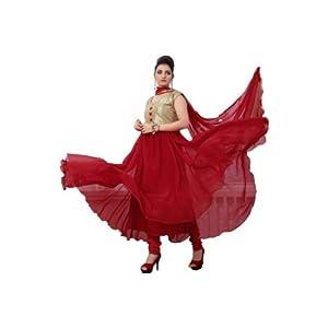 Rozeal Party Wear Designer Maroon Georgette Anarkali Suit