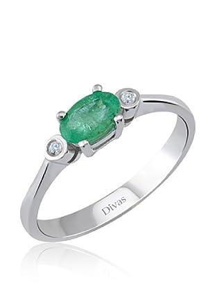 Divas Diamond Anillo Diamante Esmeralda (Plata)