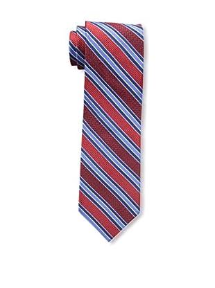 Bruno Piattelli Men's Stripe Silk Tie, Red Navy
