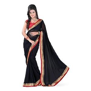Fabdeal Womens Chanderi Silk & Pure Cotton Black Saree With Blouse Piece
